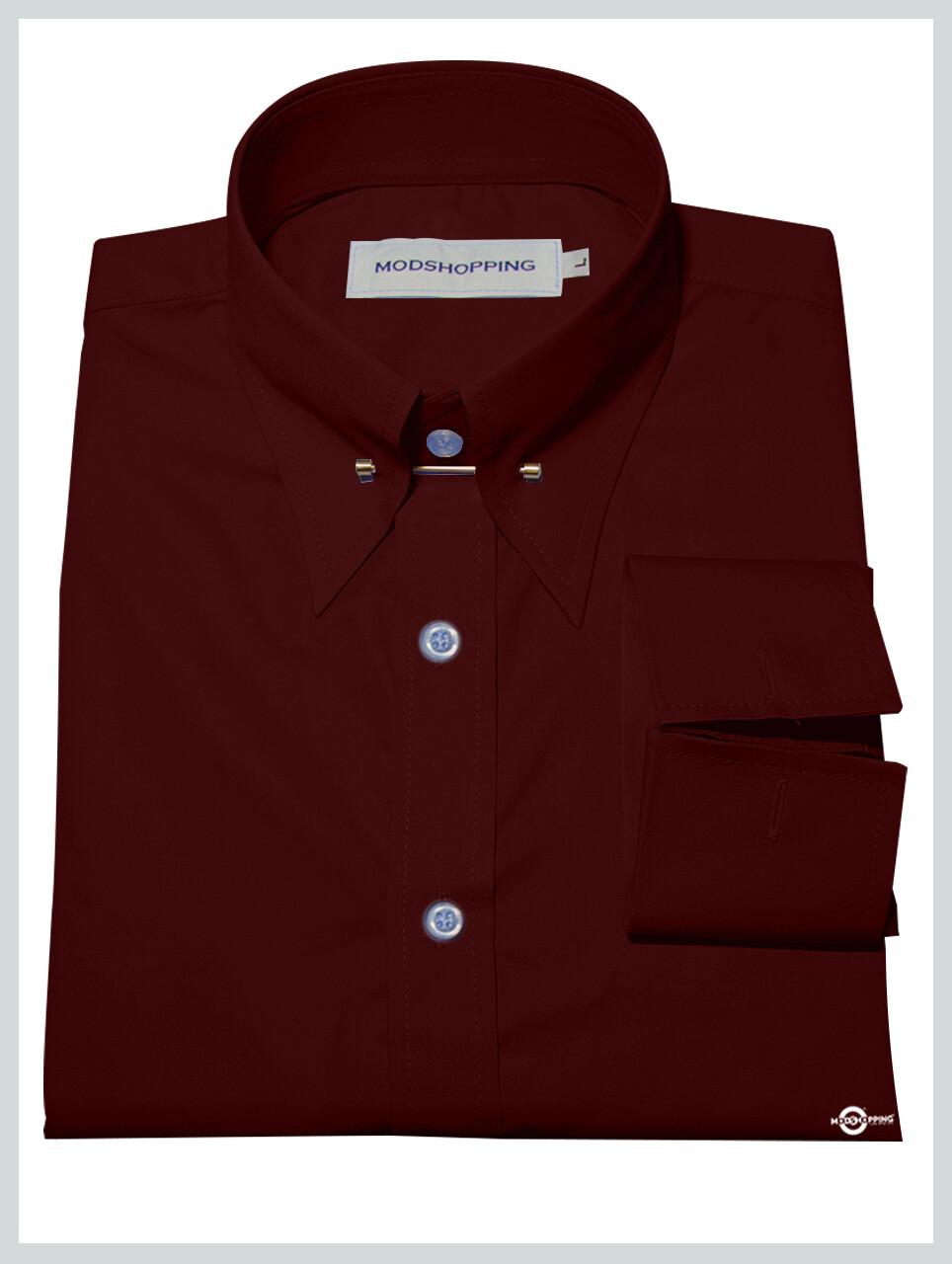 Burgundy Pin High Collar Shirt