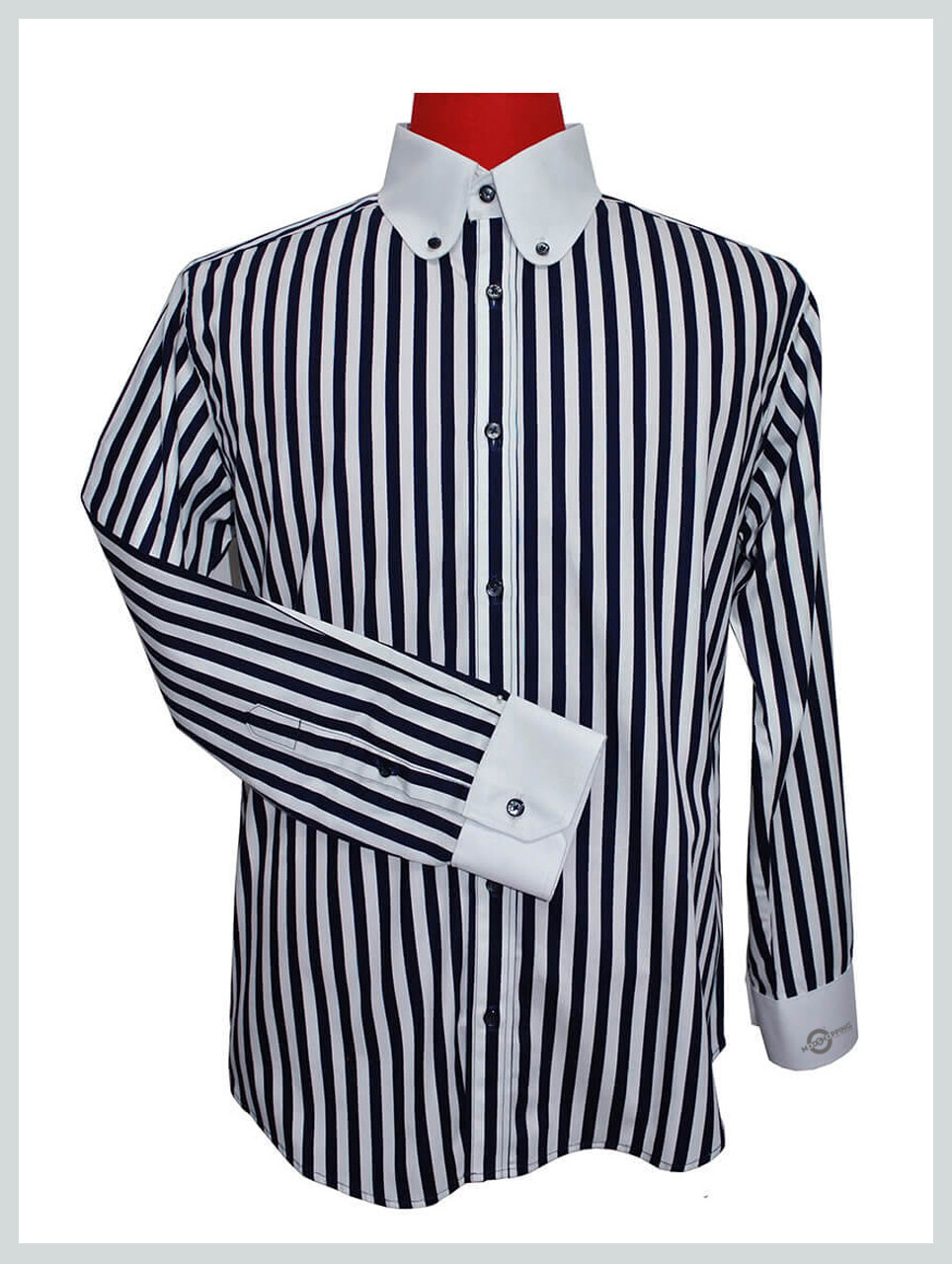 Vintage Navy Blue Striped Shirt Notched On Cuff