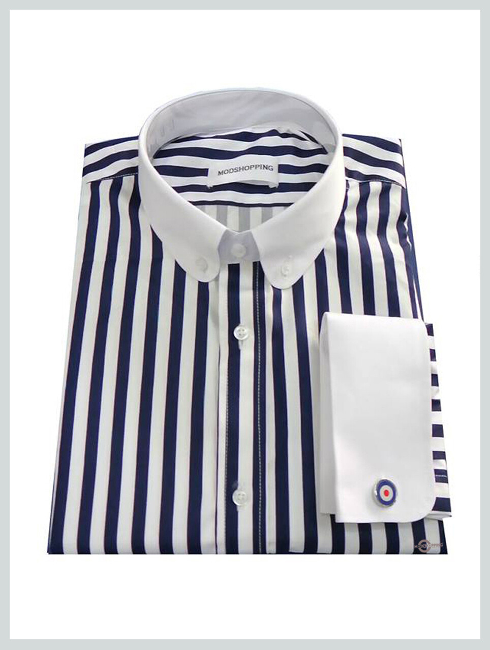 Penny Collar Navy Blue Stripe Shirt For Men, Tailored