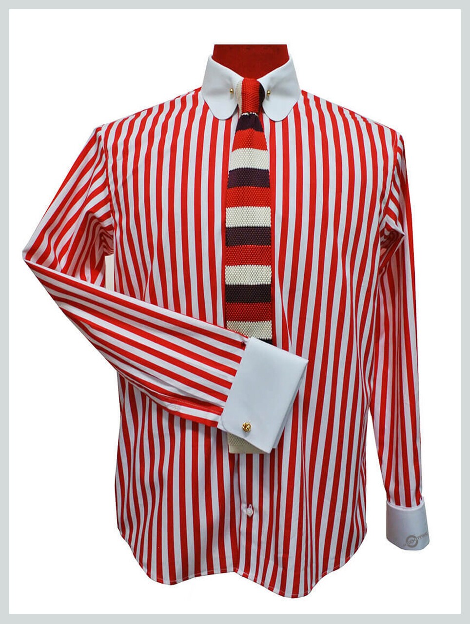 Penny Collar Shirt| Red Stripe Round Collar Mod Shirt Uk