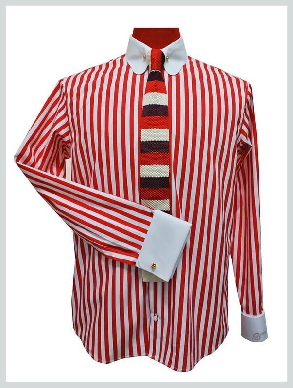 Penny Collar Shirt  Red Stripe Round Collar Mod Shirt Uk