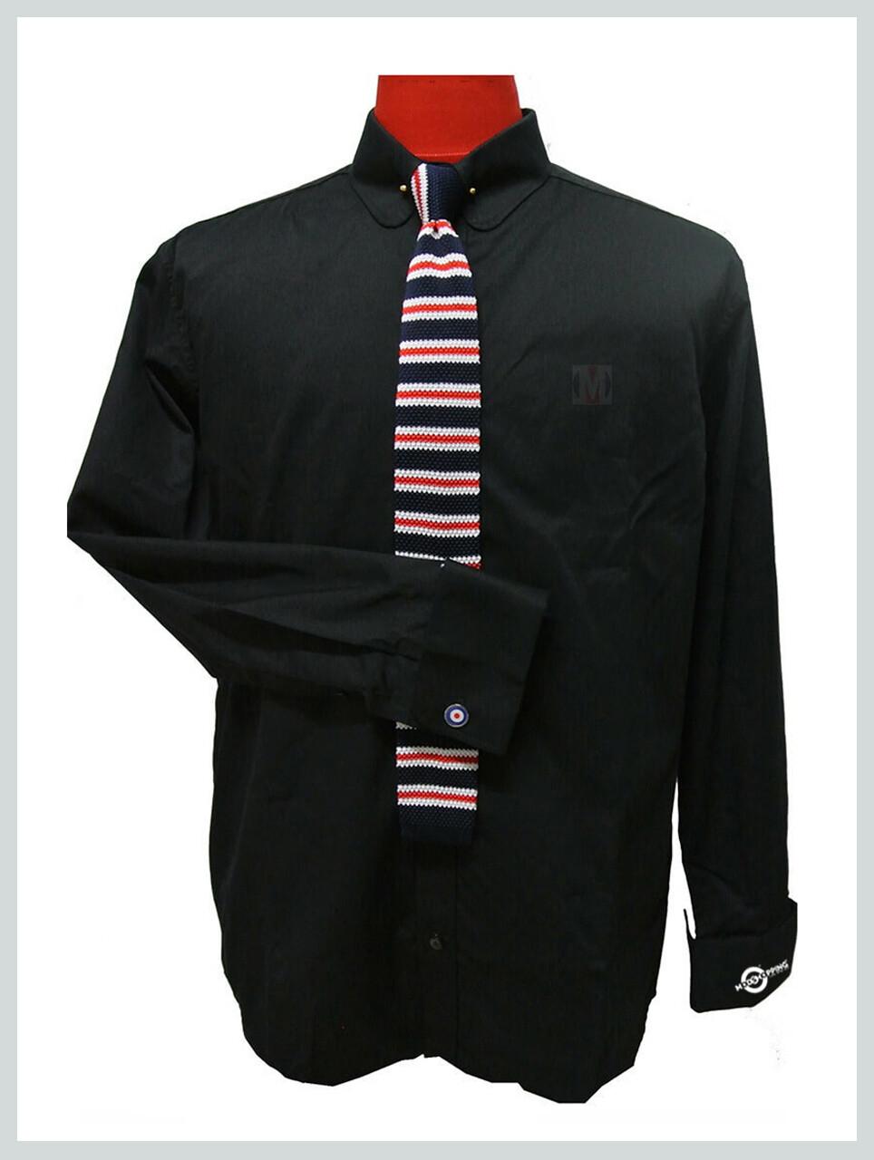 Black Mod Shirt| 60s Vintage Mod Style Penny Collar Shirt Uk