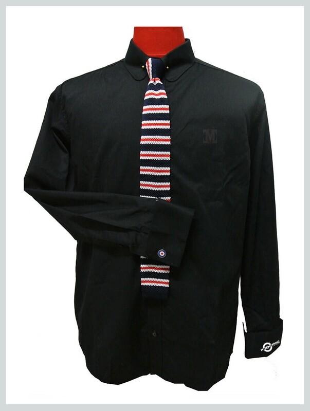 Black Mod Shirt  60s Vintage Mod Style Penny Collar Shirt Uk
