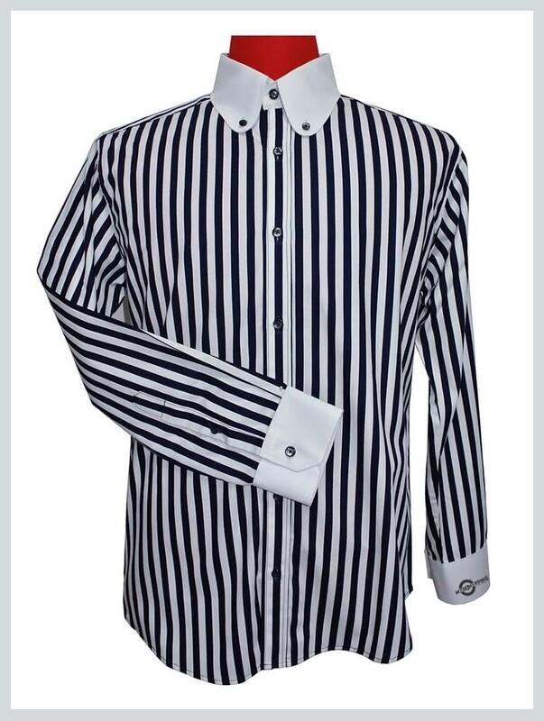Round Dark Navy Blue Penny Collr Shirts  Wedding Shirt