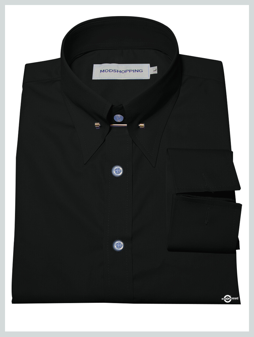 Black Pin High Collar Shirt