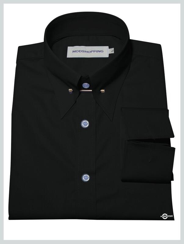 Black Pin High Collar Shirt