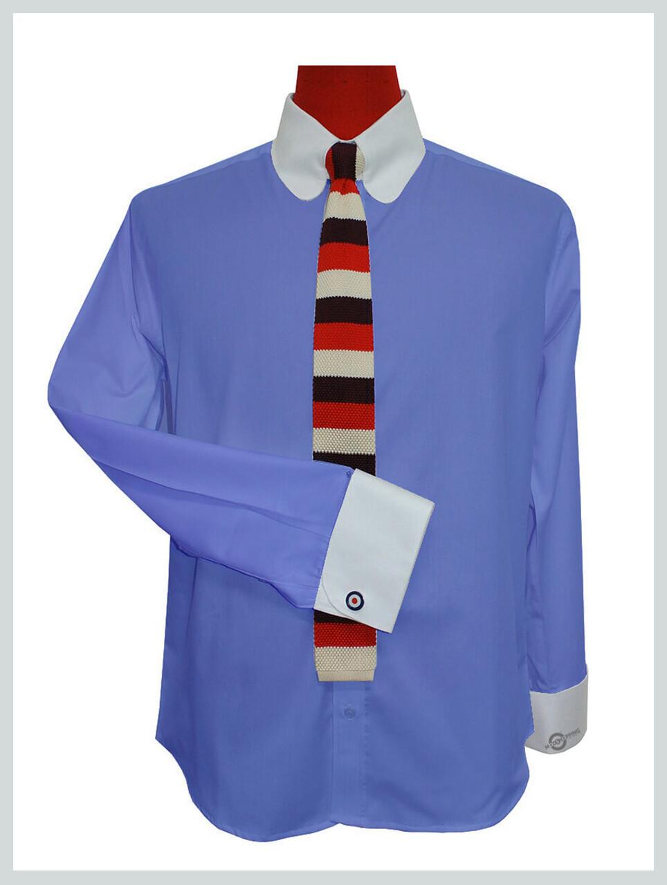 Tab Collar Shirt|  Sky Blue Mod Shirt