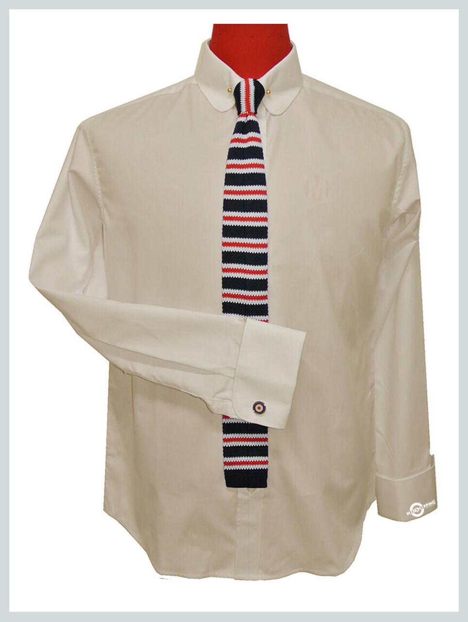Cream Shirt| 60s Mod Style Penny Pin Collar Shirt Uk