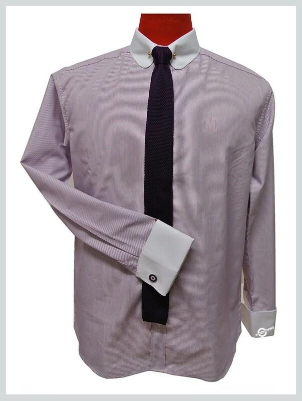 Mens Lilac Shirt  Penny Pin Collar Vintage Shirt For Men