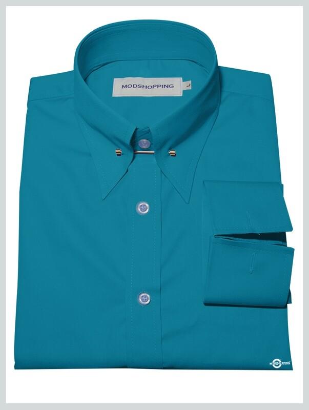 Deep Sky Blue Pin High Collar Shirt