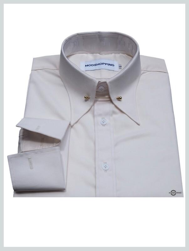 60s Mod Long Sleeve Cream Colour Pin Coloar Shirt