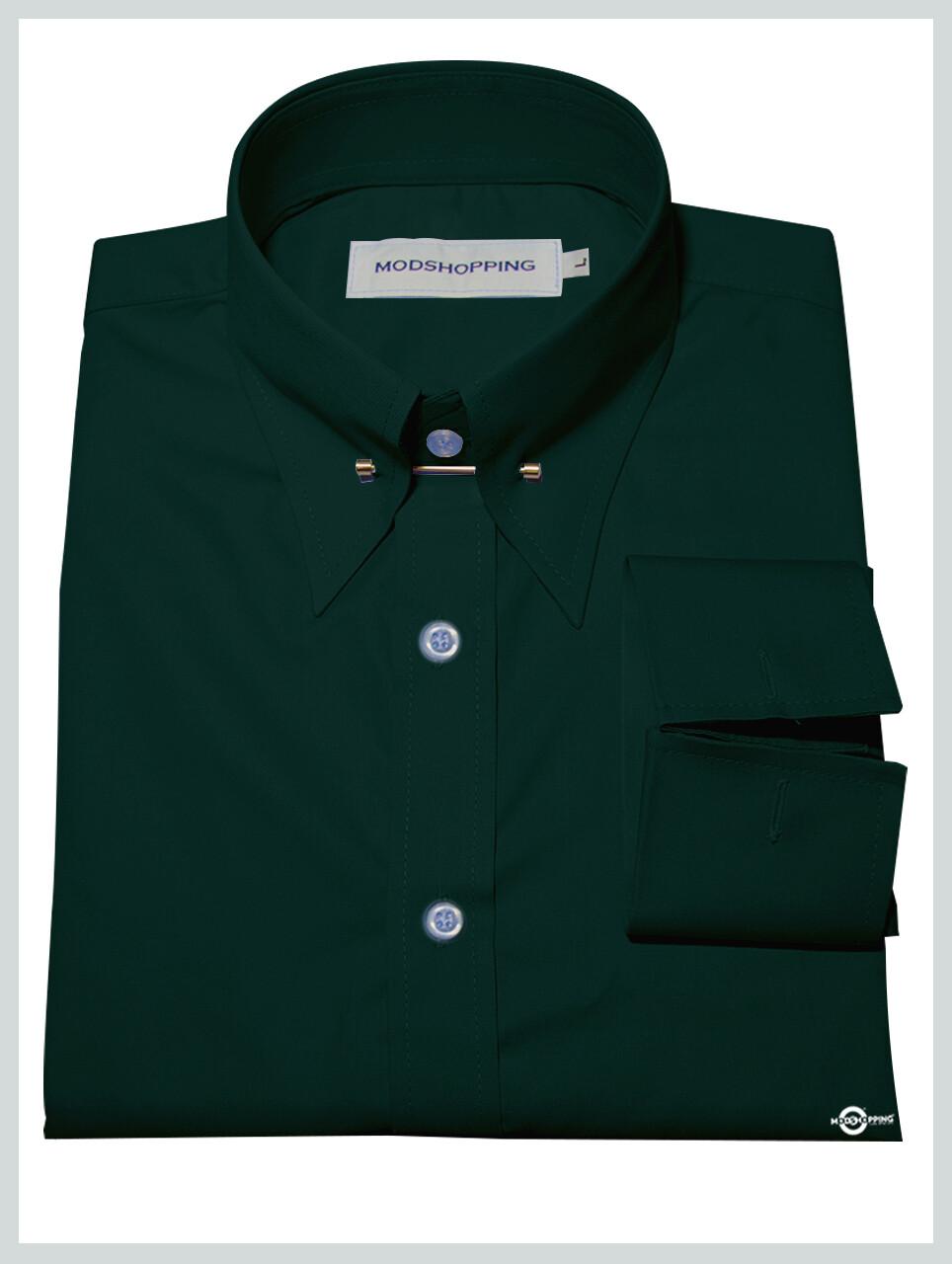 Dark Green Pin High Collar Shirt.