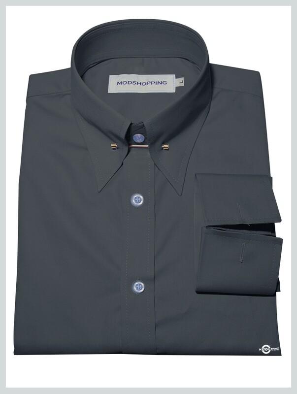 Dark Charcoal Pin High Collar Shirt