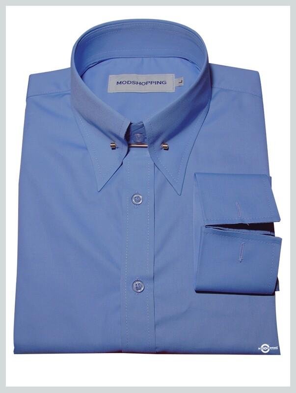 Spearpoint Collar Shirt  Sky Blue Vintage Style Cotton Spearpoint Collar Shirt