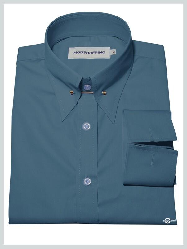 Cadet Blue Colour Pin High Collar Shirt