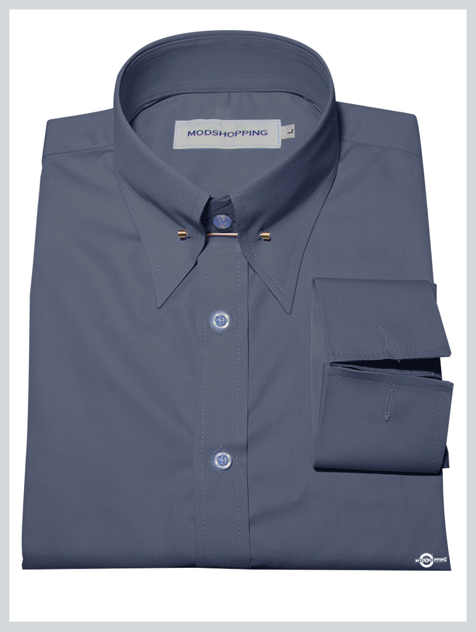 Pin High Collar Grey Collar Shirt