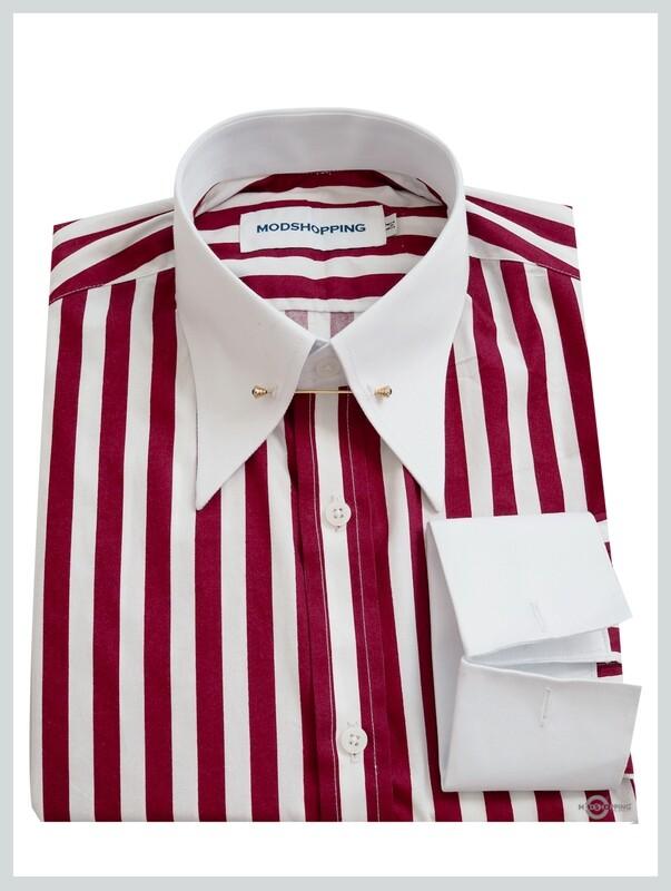 Pin Collar 60 S Burgundy Stripe White Shirt For Man