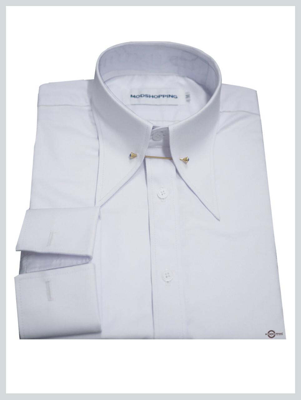 Spearpoint Pin Long Collar Vintage White Shirt