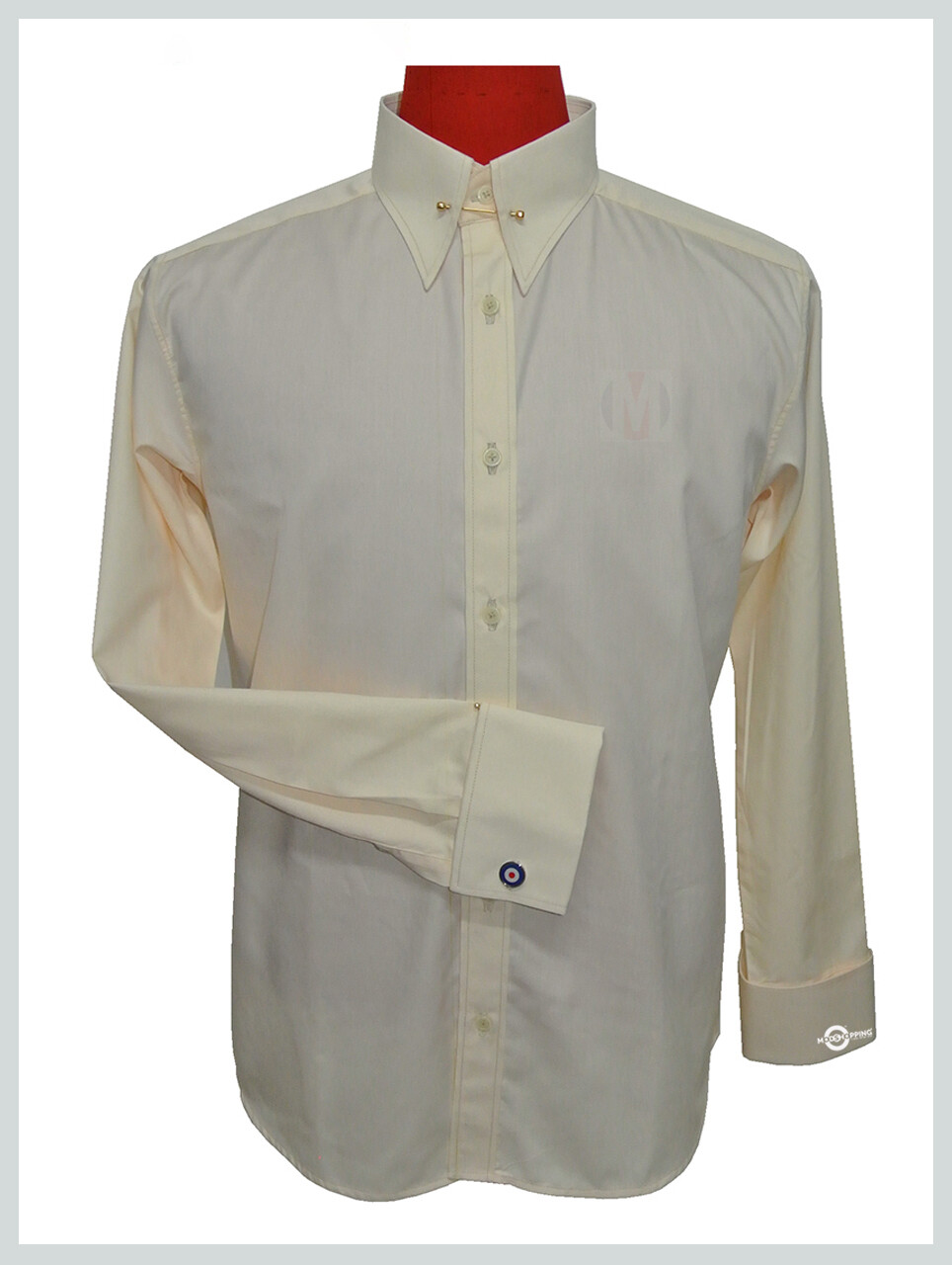 IVORY COLOR PIN COLLAR SHIRT