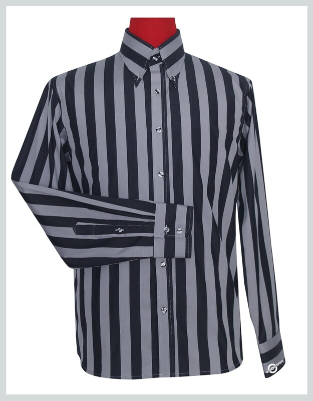 Button Down Collar Shirt | Grey & Black Striped Shirt For Man.