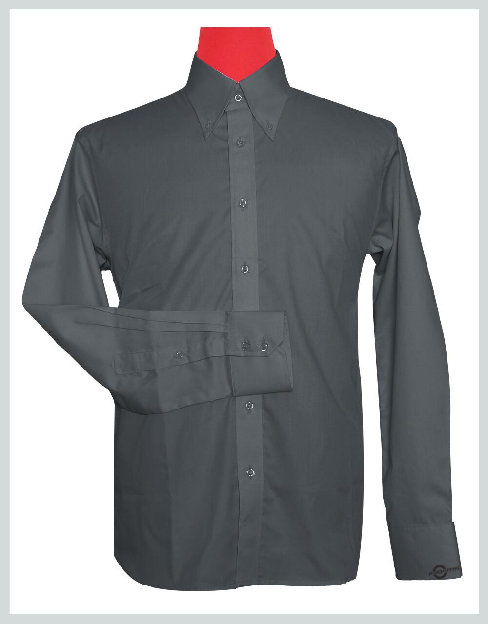 Button-Down Collar Shirt | Charcoal Grey Color Shirt
