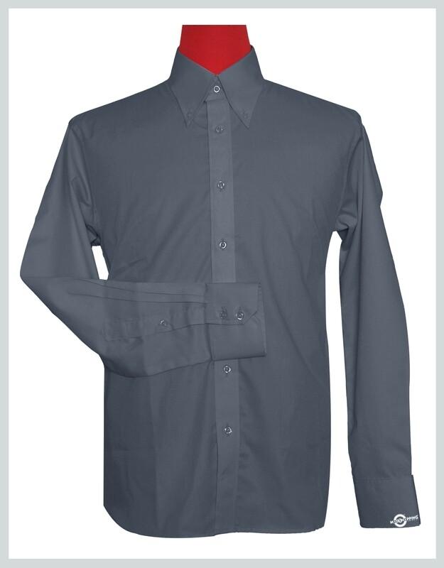 Button Down Collar Shirt   Grey Color Shirt For Man
