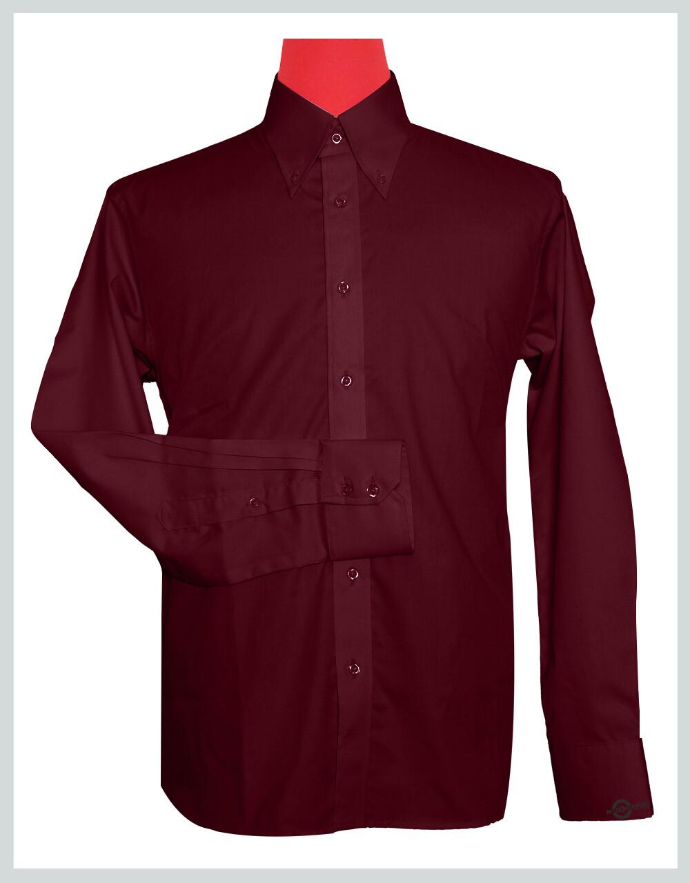 Button-Down Collar Shirt | Burgundy Color Shirt For Man