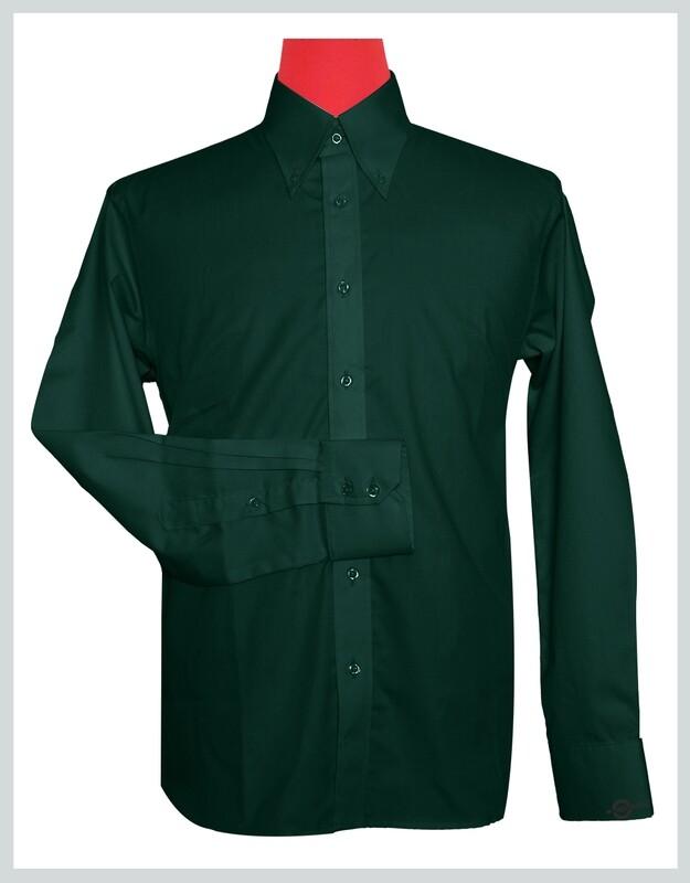 Button-Down Collar Shirt   Dark Green Color Shirt For Man