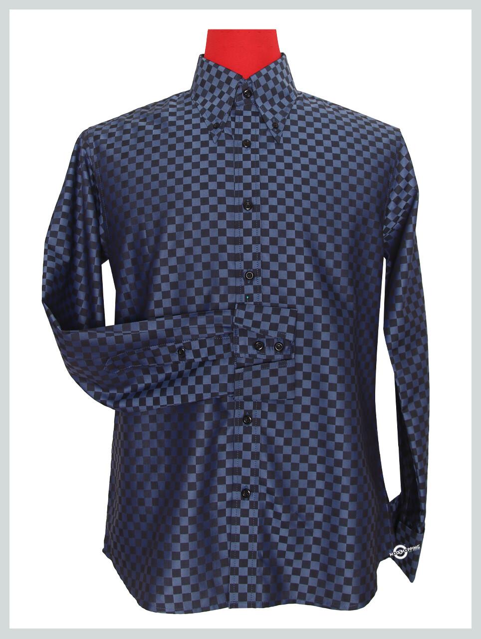 Long Sleeve Shirt Ska Check Navy Blue Shirt For Men's