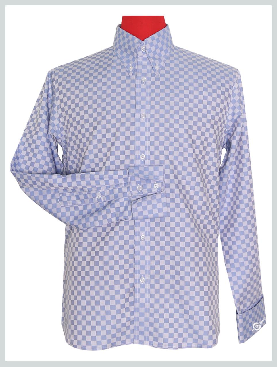 Long Sleeve Shirt Ska Check Sky Blue Shirt For Men's