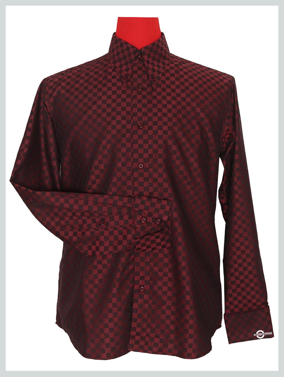 Long Sleeve Shirt Ska Check Burgundy Shirt For Men's