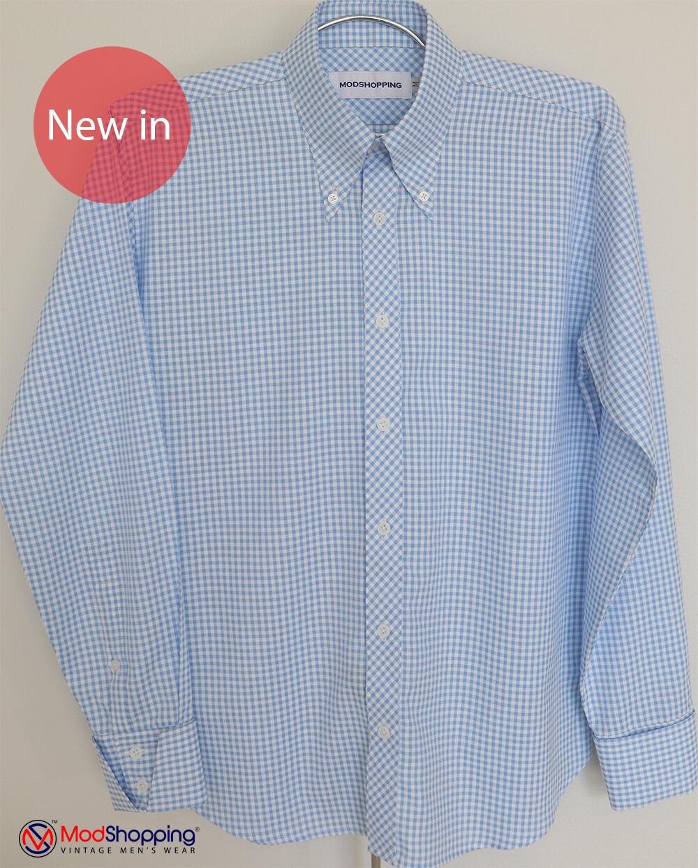 Sky Blue Gingham Shirt|Sky Blue Long Sleeve Gingham Shirt Uk