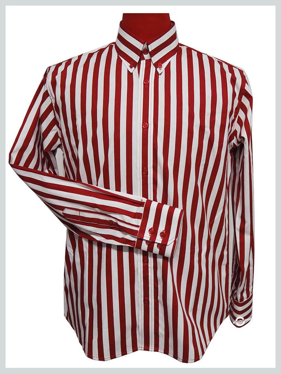 Button Down Shirt| Mens Slim Fit Red & White Stripe Button Down Shirt