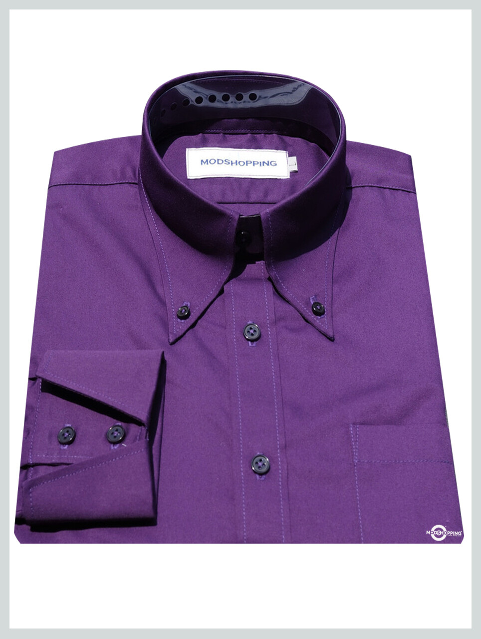 Button Down Pointed Collar Shirt | Purple Color Shirt For Men