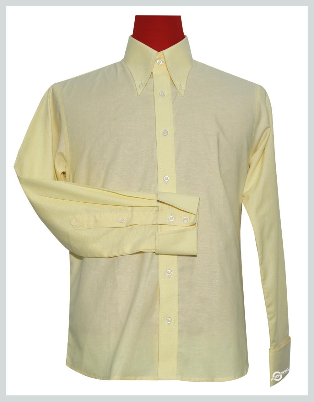 Button Down Oxford Fabric   Cream Color Shirt For Men