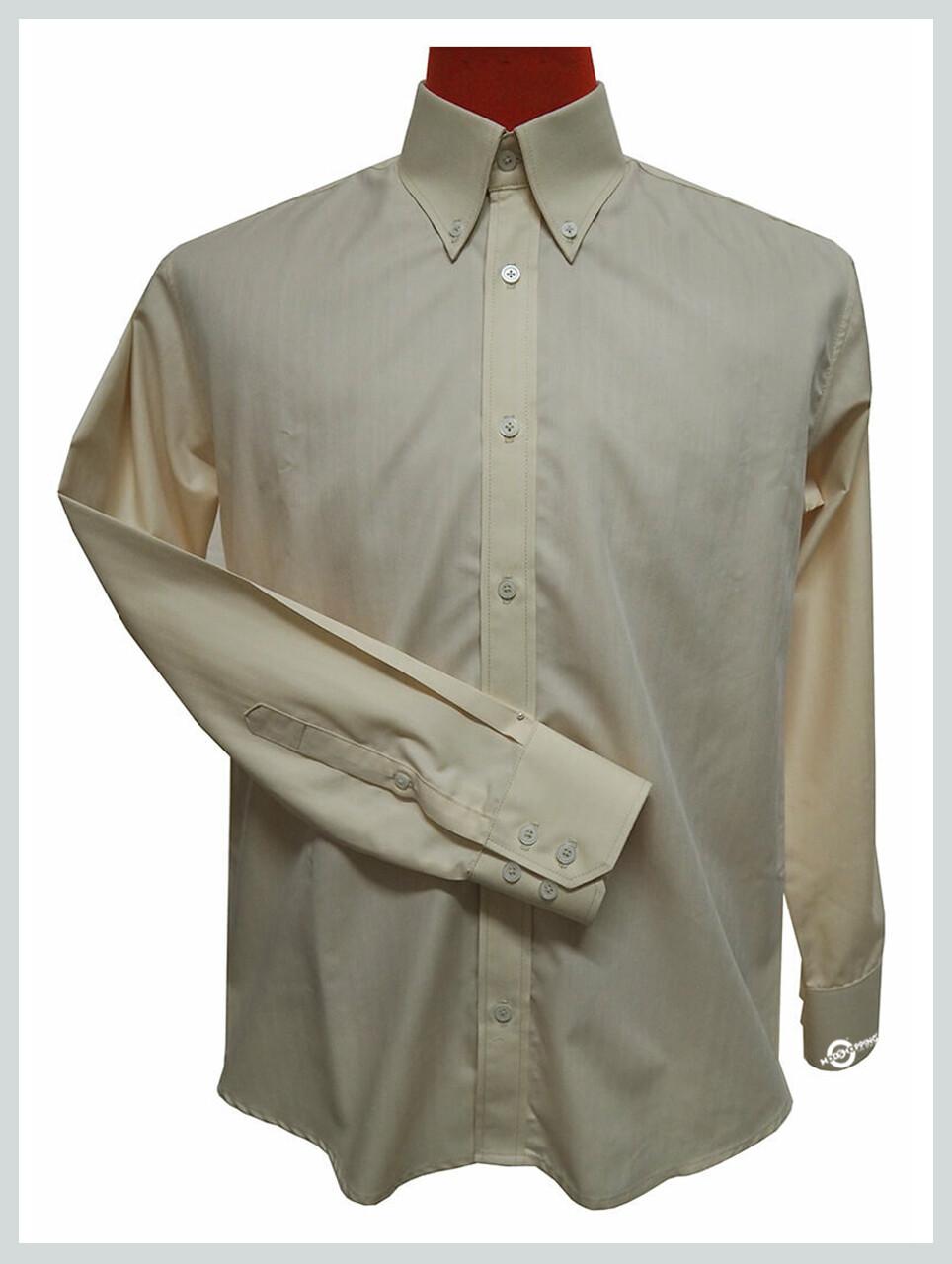 Button Down Shirt| Ivory Colour Herringbone Shirt For Men