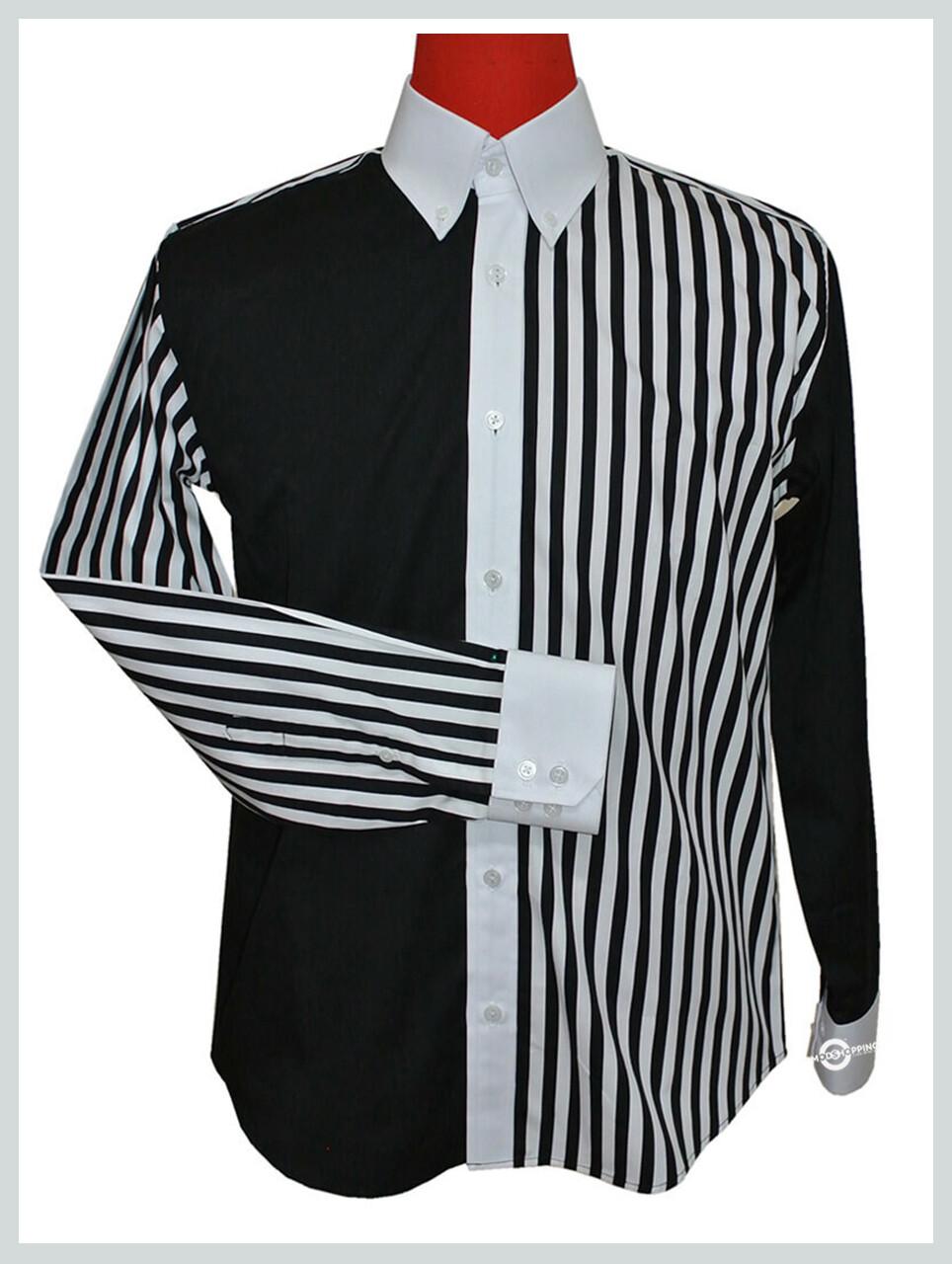 Vintage Style Roger Daltrey Black & White Button Down Shirt