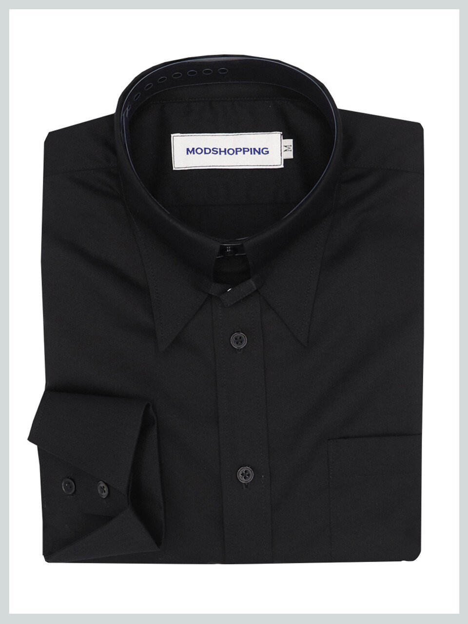 Black Tab Collar Long Sleeves Shirt