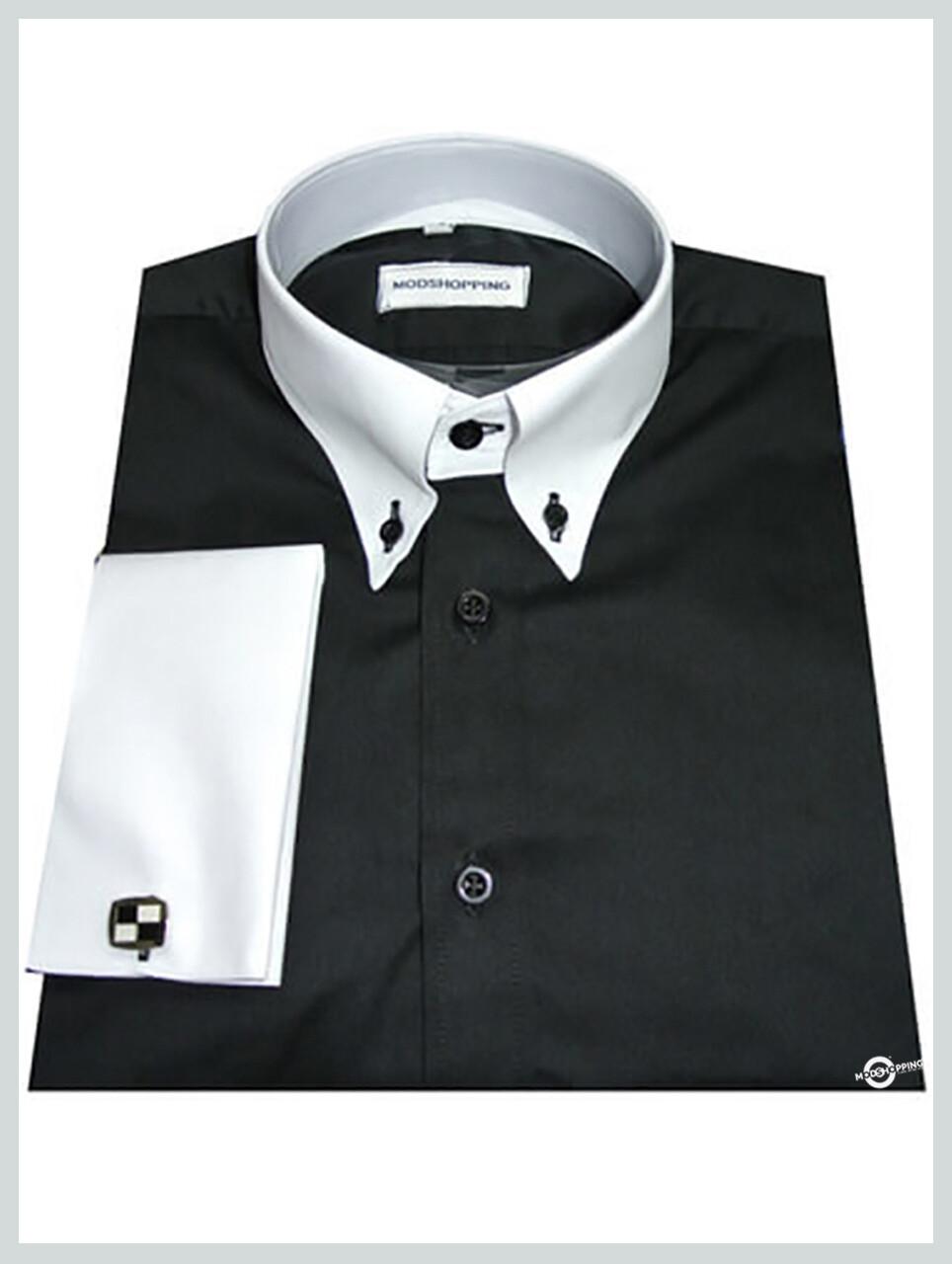White Collar Black Button Down Shirt| Mod Shirt