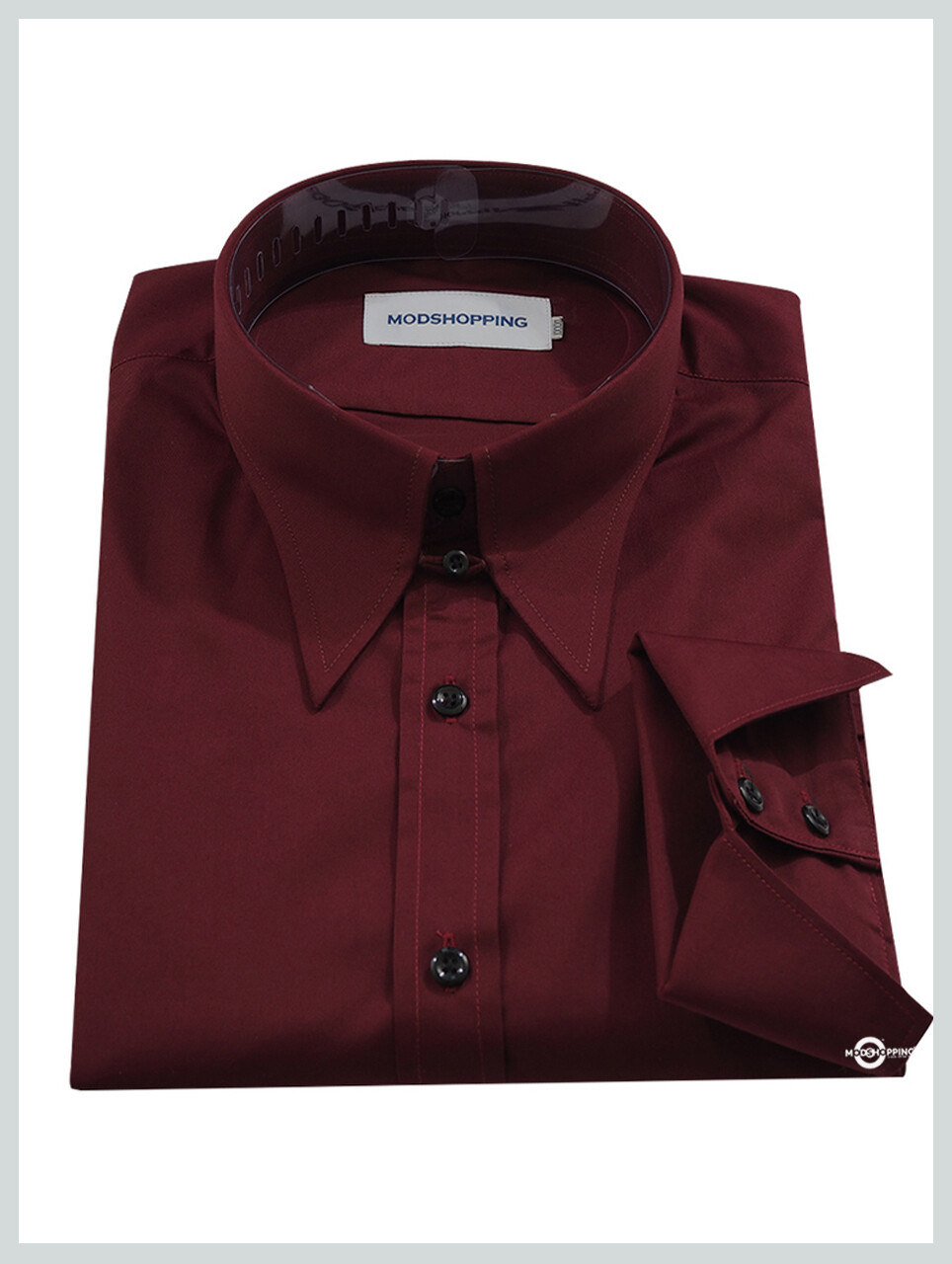 60'S Mod Style Maroon Tap Collar Shirt