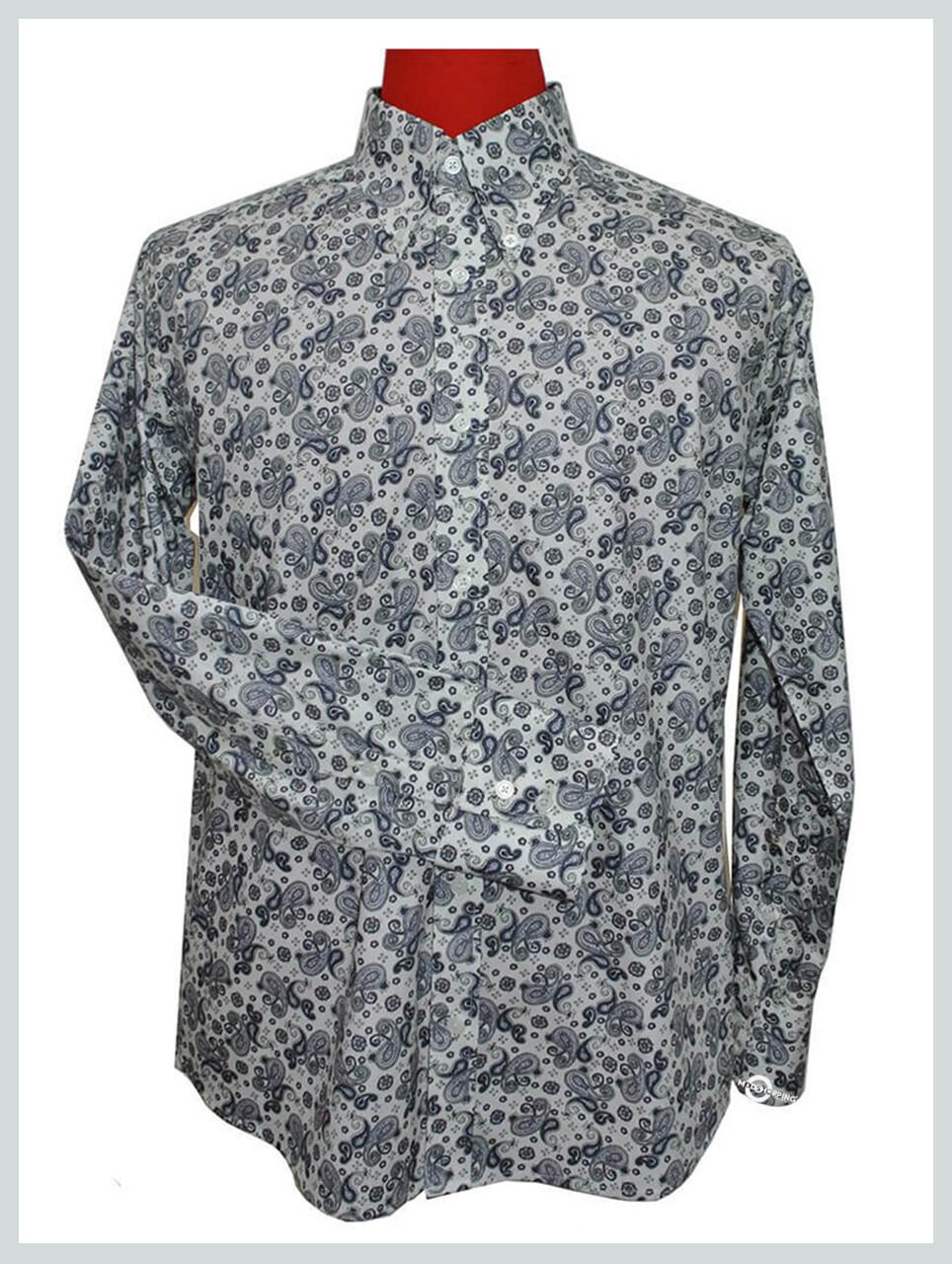Paisley Shirt| Grey 60s Retro Paisley Mod Shirt For Men