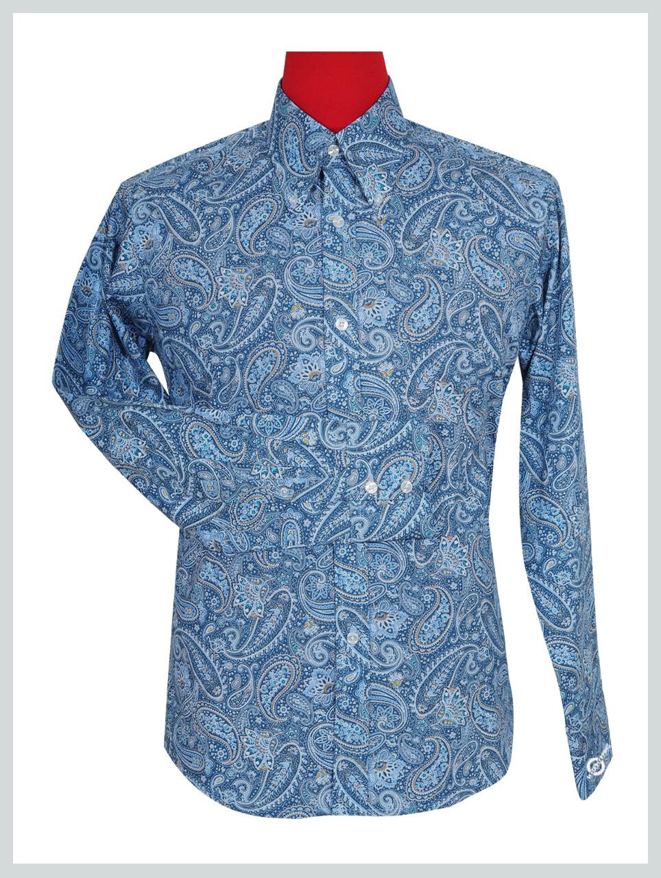 Paisley Shirt | Blue Multi Color Mens Paisley Pattern Shirt