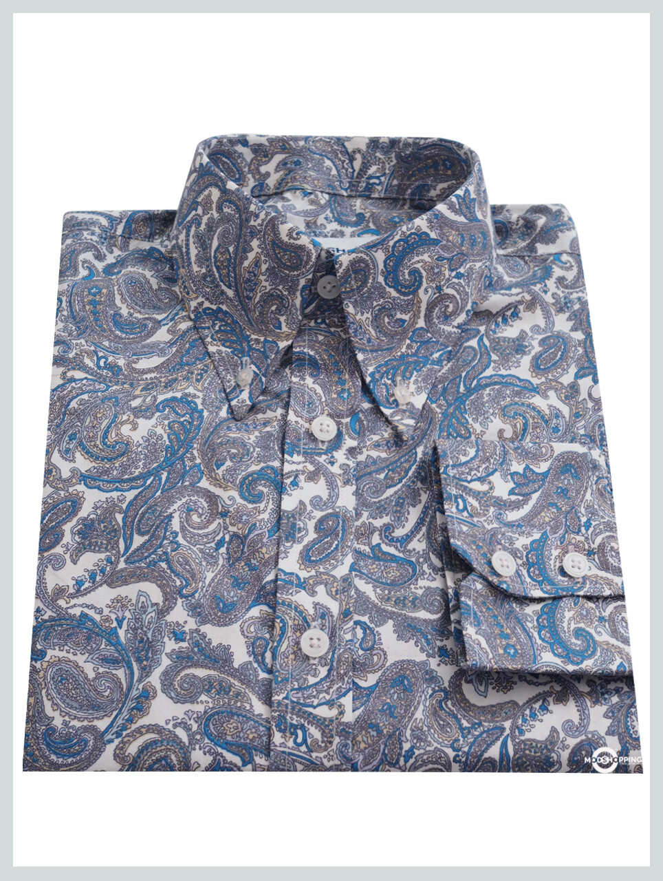 Paisley Shirt| Blue Paisley Pattern Long Sleeve Shirt For Men