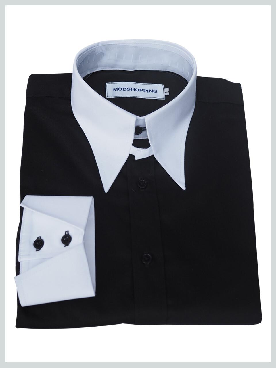 Black Tab Collar Long Sleeves 60s Design Shirt|Mod Clothing