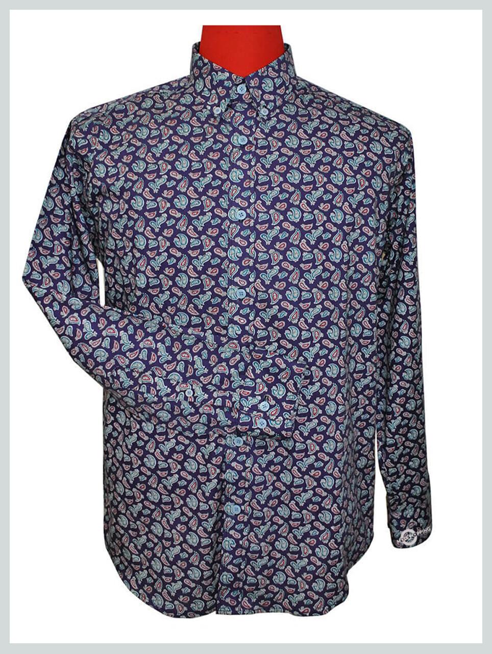 Paisley Shirt| 60s Mod Style Purple Paisley Shirt