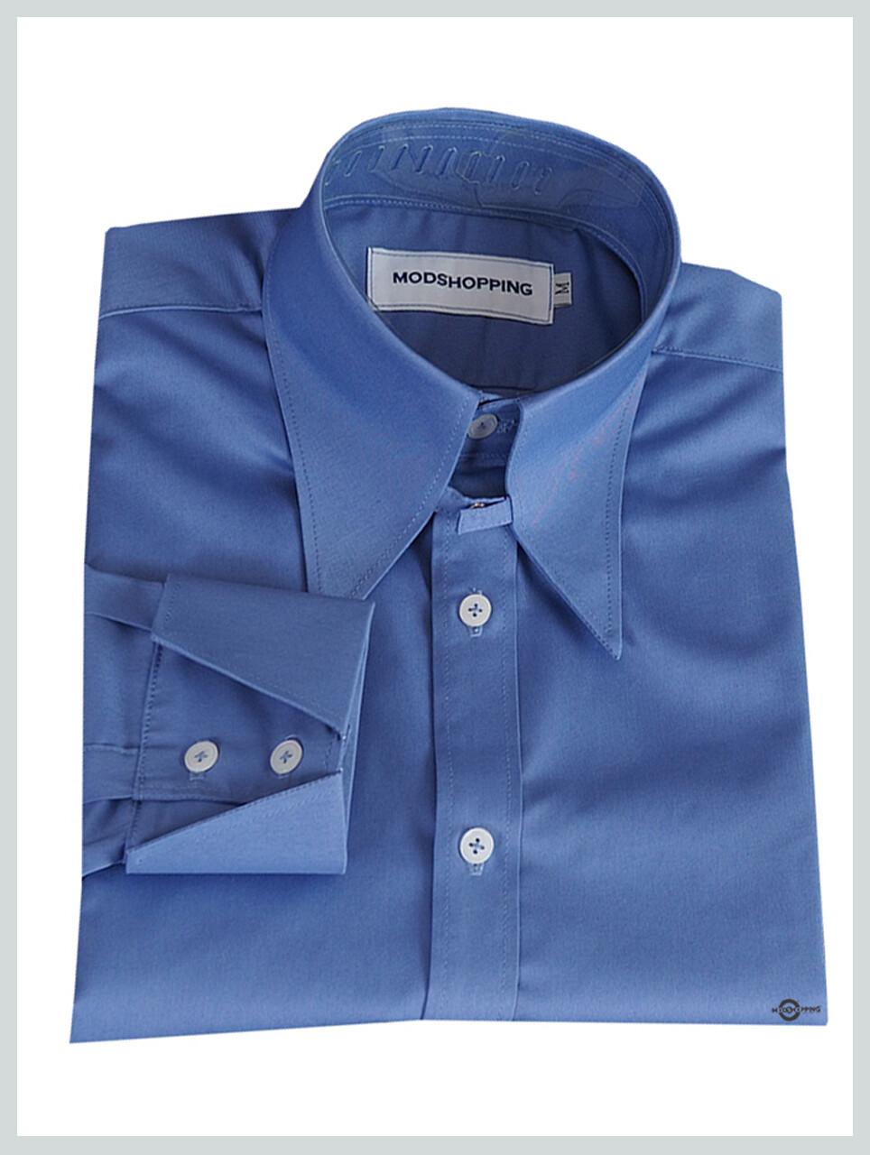 Tab Collar Shirt| 1960s Vintage Style Sky Blue Long Collar Shirt
