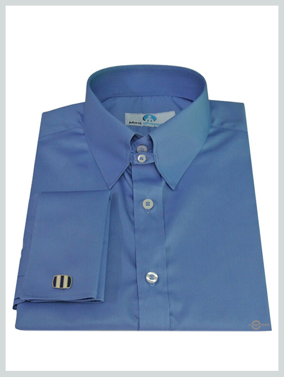 Tab Collar Shirt| Long Sleeve Sky Blue Tab Collar Shirt