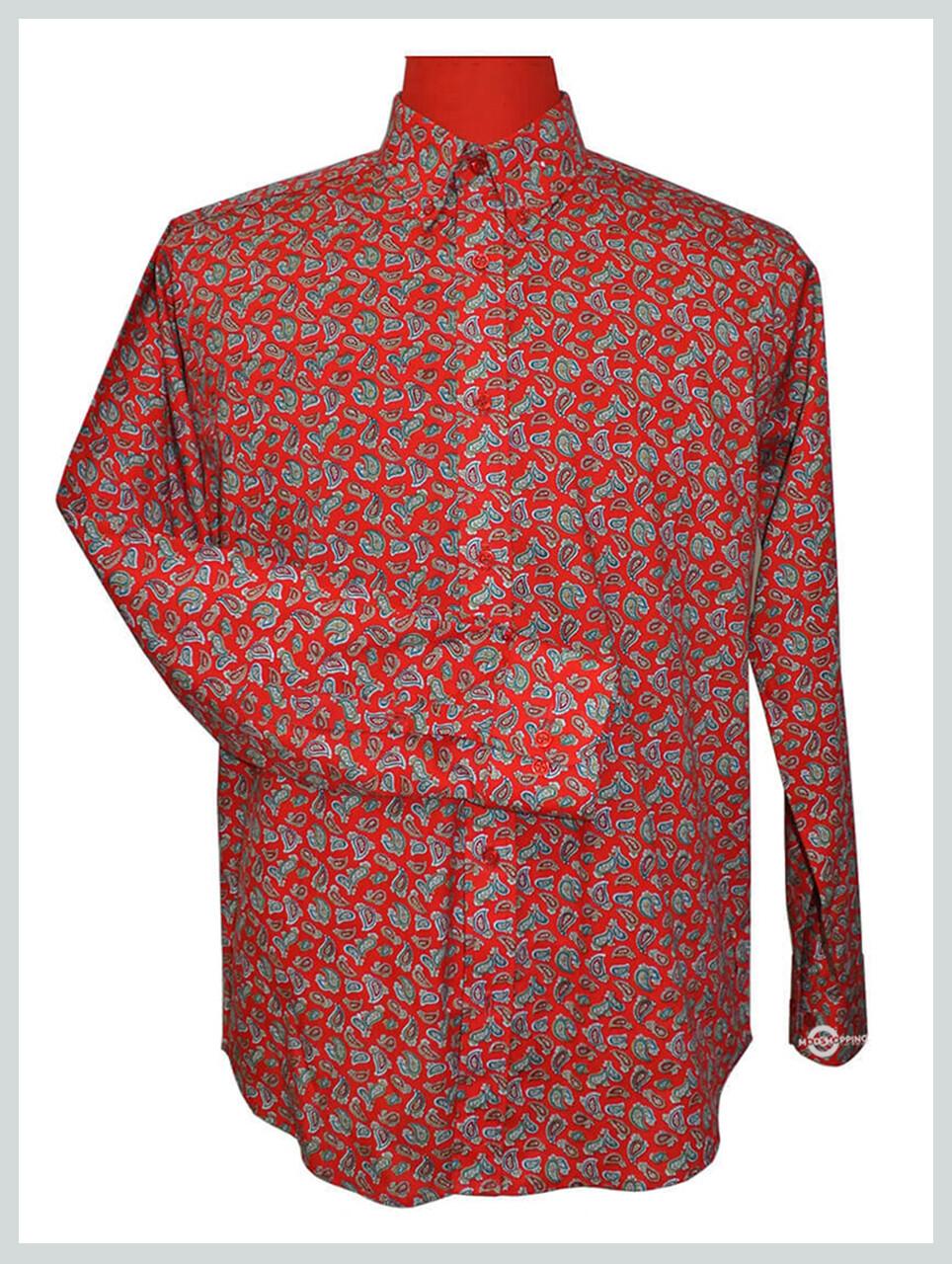 Paisley Shirt| 60s Vintage Style Red colour Mod Shirt