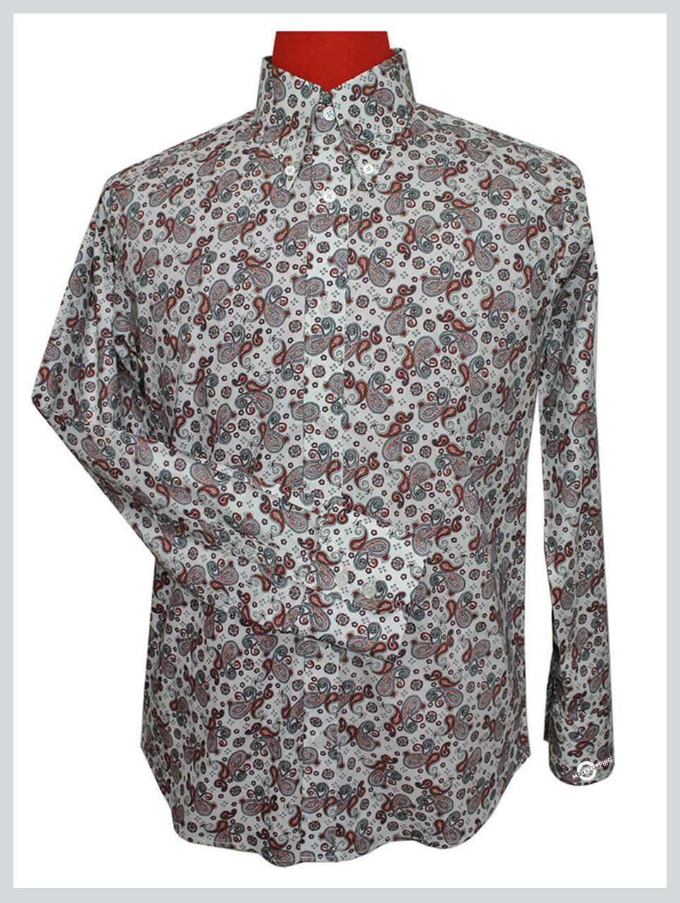 Brown Paisley Shirt| Longsleeve 60s Mod Style Mens Paisley Shirt