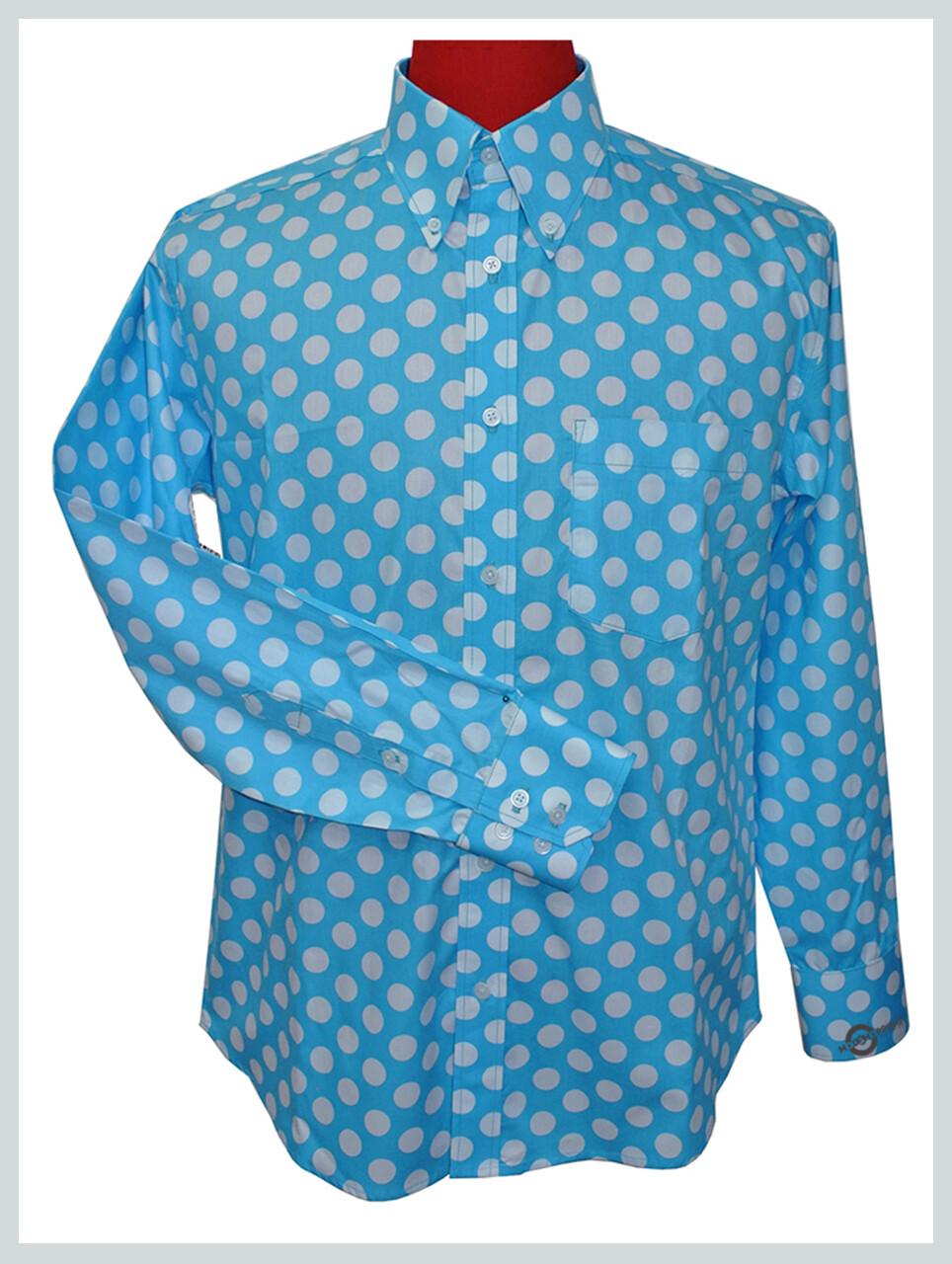 Made To Measure Large White Dot In Sky Polka Dot Shirt